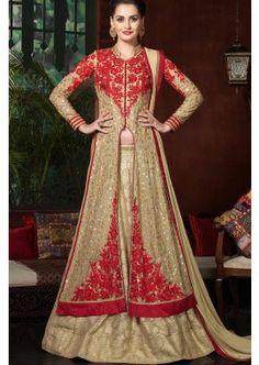 georgette beige costume Anarkali, - 210,00 €, #Tenuepakistanaise #Robeindien #Lamodeexclusive #Shopkund