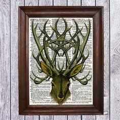 Deer. Vintage. Collage Digital Print . No.CODE 005 by SaturnPrint
