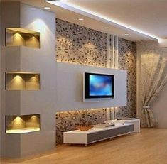 Simple and Creative Tips and Tricks: False Ceiling Design For Restaurant false ceiling living room french doors.False Ceiling Design For Bedroom. Modern Tv Wall Units, Wall Units For Tv, Contemporary Tv Units, Modern Tv Room, False Ceiling Living Room, Wall Cabinets Living Room, Living Room Tv Unit Designs, Plafond Design, Tv Wall Decor