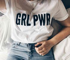 Girl Power T-shirt, Feminist Shirt, GRL PWR Shirt, Feminism Tees, Women's Tshirt by Outerspacegirls on Etsy Shirt Print Design, Shirt Designs, Girl Power T Shirt, Girl T Shirt, Printed Shirts, Tee Shirts, Funny Workout Shirts, Feminist Shirt, Pretty Little Liars