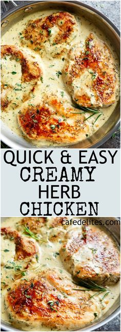 Quick And Easy Creamy Herb Chicken, filled with so much flavour, ready and on your table in 15 minutes! You won't believe how easy this is!   https://cafedelites.com  Use Thyme instead of rosemary