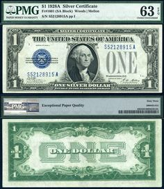"US 1928 A $1 Silver Certificate ""Funny Back"" FR-1601 PMG Graded CU63EPQ IALR"