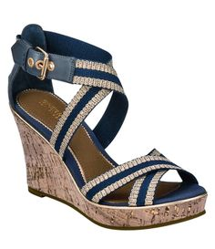 Blue wedge shoes  @Kelsey Brethower - these reminded me of you yesterday (but with ankle adjustment)