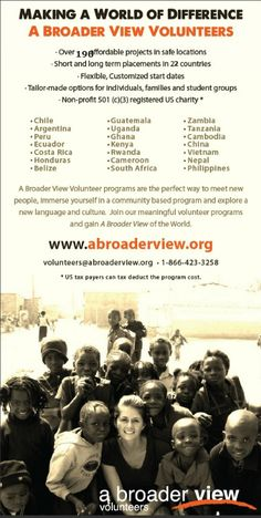 Volunteer Abroad 22 countries 195 Social & Conservation Program https://www.abroaderview.org #volunteerabroad #projectsabroad #nonprofit #charity