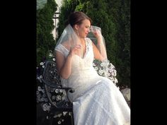 Champagne Lace wedding dress from David's Bridal and veil