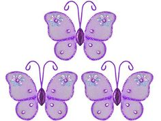 "Hanging nylon butterfly craft nursery bedroom girls room ceiling wall decor,  wedding birthday party baby bridal shower decorations - Adelaide Mini Butterfly Decoration - 3"" purple set of 3 The Butterfly Grove,http://www.amazon.com/dp/B001PZD5TC/ref=cm_sw_r_pi_dp_bDPHtb03KMH362QA"