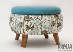 Tire Furniture, Diy Furniture Decor, Upcycled Furniture, Furniture Makeover, Furniture Design, Homemade Home Decor, Diy Home Decor, Small Balcony Decor, Diy Ottoman