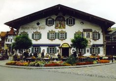 Painted architectural details in Oberammergau, Germany