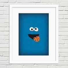 Sesame Street Minimalist Art Print Cookie Monster  by TheRetroInc, Vintage Retro Minimalist Style Poster Wall Art https://www.etsy.com/shop/TheRetroInc @The_Retro_Inc