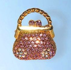 Purse Pin Brooch 24K Gold Swarovski Crystals Jewelry Pink Bejeweled Alfiler M... Dazzlers. $31.00. Bonded Seller, Stocked On Site, Quick Delivery & Gift Wrapping is optional.. Arrives In Padded Presentation Box With Certificate Of Authenticity. 100% Satisfaction Guaranteed Or Your Money Back. Each pin is hand set with Sparkling Swarovski Crystals & hand enameled.. Exquisite, limited edition item which is sure to grow in value over time.