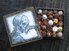 Miniature Box of Chocolates Halloween Skeleton by TheSweetBaker, $13.50