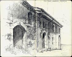 Old town, limassol, cyprus in 2019 architecture sketches арх Moleskine Sketchbook, Artist Sketchbook, Sketchbooks, Building Drawing, Building Sketch, Beautiful Sketches, Hand Sketch, Architecture Drawings, Urban Sketching