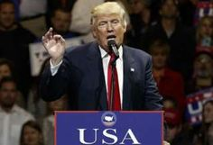 """President-elect Donald Trump gestures as he speaks during a """"USA Thank You"""" tour event in Cincinnati."""