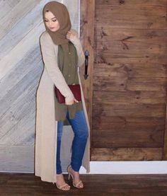 long cardigan hijab look- Hijab trends from the street http://www.justtrendygirls.com/hijab-trends-from-the-street/