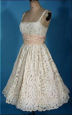 1950's SAMUEL WINSTON by ROXANE Off-White Battenburg Lace Dress with Pale Pink Ruched Waist