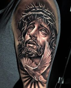 Jesus Tattoo Sleeve, Religious Tattoo Sleeves, Forearm Sleeve Tattoos, Best Sleeve Tattoos, Tattoo Sleeve Designs, Body Art Tattoos, Hand Tattoos, Jesus Hand Tattoo, Tattoos Skull