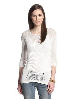 Cliché  Women's Hi Lo Pointelle Sweater (White)