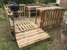 Pallet decking, BBQ area, serving table and bar.... loads of room for expansion