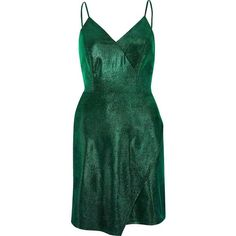 River Island Green metallic wrap slip dress (474.690 IDR) ❤ liked on Polyvore featuring dresses, green dress, metallic, river island, short dresses, bodycon wrap dress, bodycon dresses, green cocktail dress and strappy cami