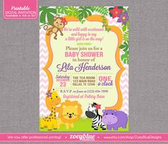 Jungle Baby Shower Printable Invitation  Girl by ZoeyBlueDesigns