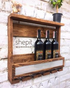 Wine rack wall mounted - Wine and Liquor Shelf - Wine holder - wood wine rack - Rustic wood wine rac