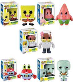 Spongebob Squarepants Pop Television Vinyl Figure Set Of 5 http://popvinyl.net #funko #funkopop #popvinyls