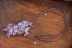 Bridal Hair Accessory, lilac, purple, embroidery, Bridal Headpiece, Wedding headpiece, Wedding Accessories, Bridesmaid embroidery comb by Leteria on Etsy