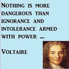 Voltaire quote: Nothing is more dangerous than ignorance and intolerance armed with power. Wise Quotes, Quotable Quotes, Famous Quotes, Great Quotes, Quotes To Live By, Motivational Quotes, Inspirational Quotes, Socrates Quotes, Courage Quotes