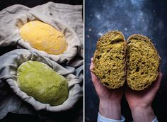Green sourdough loaf-I'll try spinach puree as the juice here is a bit pale Savory Donuts Recipe, Donut Recipes, Raw Food Recipes, Bread Recipes, Starter Recipes, No Knead Bread, Sourdough Bread, I Chef, Bread Cake
