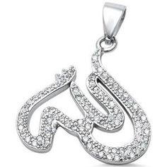Sterling Silver CZ Allah Pendant Sterling Silver Bracelets, Sterling Silver Pendants, Hamsa, Allah, Personalized Items, Earrings, Ear Rings, Allah Islam, Pierced Earrings