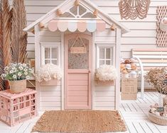 Kids Cubby Houses, Kids Cubbies, Play Houses, Backyard Playhouse, Wooden Playhouse, Playhouse Ideas, Kids Play Area, Kids Room, Wendy House