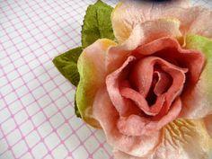 Pink Rose Velvet Millinery Flower Shabby Chic Wedding by APinkSwan, $6.50