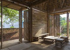Diagonal slats. Bamboo house in Vietnam, H&P Architects | Remodelista