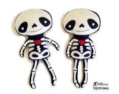 Skeleton Doll PDF Sewing Pattern Halloween Softie Day of The Dead Stuffed Toy. $10.00, via Etsy.