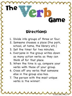 Adventures in Room 5: Verbs! Verbs! Verbs!  For centers. Different parts of…