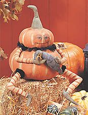 Primitive Stuffed Halloween Pumpkin Doll Gourdy