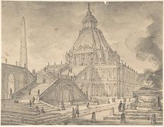 Anonymous, Italian, first half of the 18th century | Architectural Fantasy: Temple-like Building with Colonnades, a Monumental Staircase, and a Burnt Offering (Sacrifice) in the Foreground | The Met