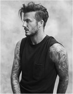 David Beckham has created a range called Essentials for high street giant H&M. Beckham who has previously done a bodywear range for H&M extends to clothes Cabelo David Beckham, David Beckham Haircut, David Beckham Mohawk, David Beckham Style, Undercut Men, Undercut Hairstyles, Long Hairstyles, Latest Hairstyles, Wedding Hairstyles
