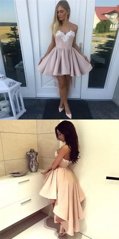 A-Line Sweetheart High Low Blush Pink Lace Appliques Cheap Homecoming Dresses, Prom Dresses With Pockets, Cheap Homecoming Dresses, Grad Dresses, Sexy Dresses, Short Dresses, Fashion Dresses, Bridesmaid Dresses, Formal Dresses, Spring Outfits Women