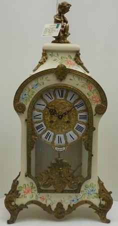 Vintage Italian Hand Painted Louis XV Mantel Clock