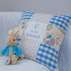 Peter Rabbit© Alphabet Cushion Gingham Blue Sewing Projects, Craft Projects, Craft Ideas, Peter Rabbit Fabric, Grey Bunny, Patchwork Cushion, Lavender Sachets, Bunny Toys, Beatrix Potter