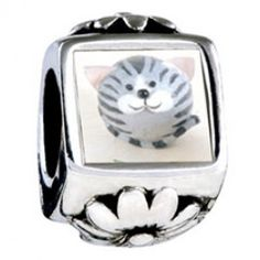Puffball Grey Stripes Cat Photo Flower Charms  Fit pandora,trollbeads,chamilia,biagi,soufeel and any customized bracelet/necklaces. #Jewelry #Fashion #Silver# handcraft #DIY #Accessory