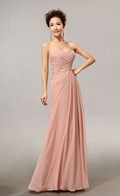 Graceful Attractive Floor-length Draped Ruched Bridesmaid Dress