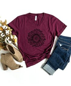 Simply Sage Market Maroon & Black Sunflower Crewneck Tee - Women | Best Price and Reviews | Zulily