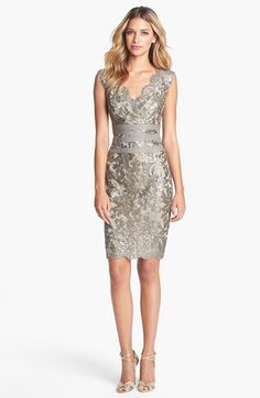 Tadashi Shoji Embellished Metallic Lace Sheath Dress available at #Nordstrom