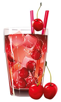 Glass of Cherry Juice PNG Clipart