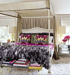 If you never leave the house without lipstick and heels, this look is for you. Bold Ikat patterns, silks, and faux fur give this bedroom an ultra luxurious feeling that is sure to accentuate your sultry side.