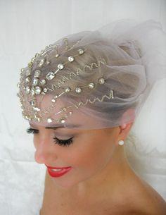 Art Deco Crystal Cap Headpiece.