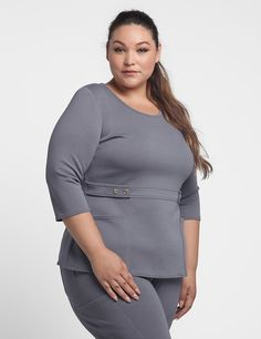 The Curve Button Waist Top in Graphite is a contemporary addition to women's medical scrub outfits. Shop Jaanuu for scrubs, lab coats and other medical apparel. Plus Size Dresses, Plus Size Outfits, Scrubs Outfit, Plus Size Fashion Tips, Plus Clothing, Medical Scrubs, Plus Size Designers, Work Attire, Get Dressed