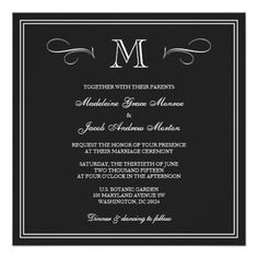 Formal Monogram Wedding Invitation